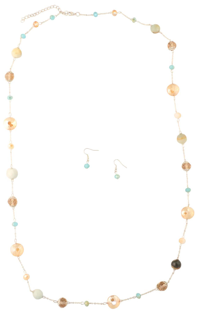 9 Crowns Essentials Ole Women's Long Acrylic & Stone Beads 2- PC Jewelry Set-Brown/Blue-OS