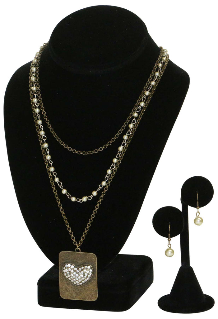 9 Crowns Essentials Ole Women's Bronze-tone Heart Pendant 2- PC Jewelry Set