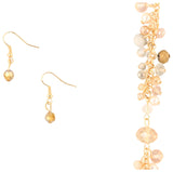 9 Crowns Essentials Ole Women's Long Faceted Beads Gold  2- PC Jewelry Set-Gold/Pink-OS