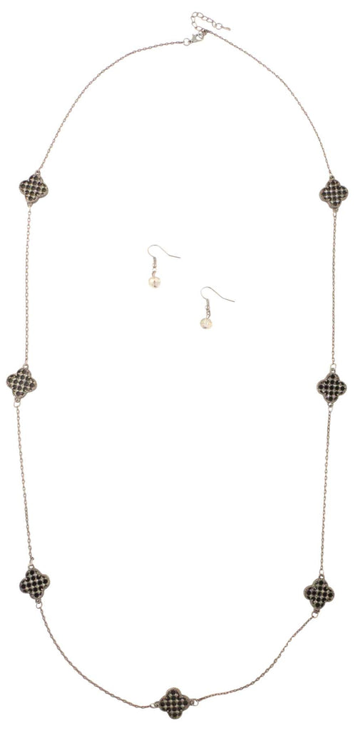 9 Crowns Essentials Ole Women's Long Quatrefoil Chain 2- PC Jewelry Set-Black-OS