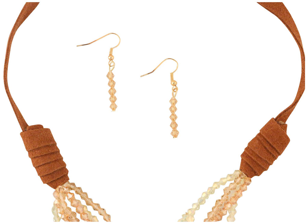 9 Crowns Essentials Ole Women Long Acrylic Faceted Bead 2-PC Jewelry Set-Tan-OS