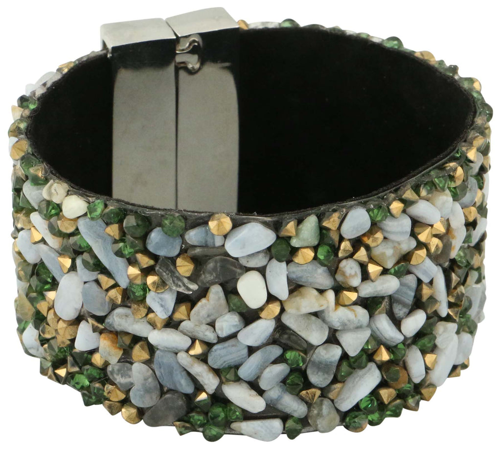 9 Crowns Essentials Ole Women's Studded Thick Rock Magnetic Closure Bracelet