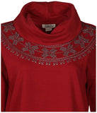 Lucky Brand Jeans Women's Embroidered Cowl Neck Top-Deep Red
