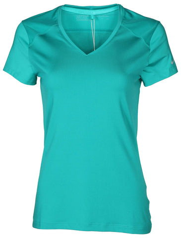Nike Women's Dri-Fit Greens V-Neck Golf Top-Teal
