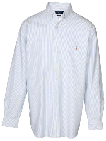 Polo RL Men's Big & Tall Button Down Shirt-Blue/White