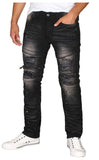 Bleecker & Mercer Men's Moto Ripped Distressed Skinny Denim Jeans