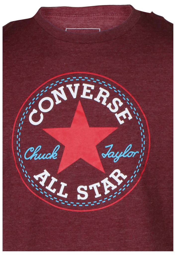Converse Men's Disteressed All Star Chuck Taylor Patch T-Shirt-Burgundy