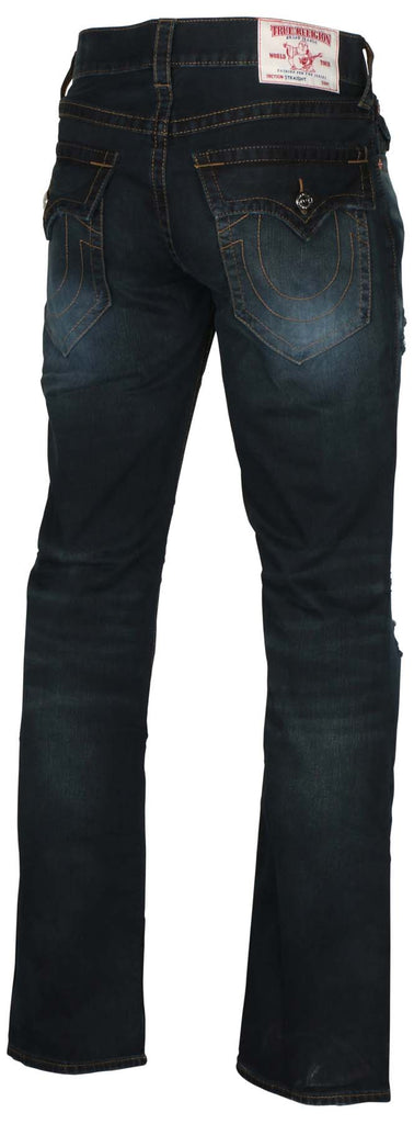 True Religion Men's Straight With Rips Flap Jeans