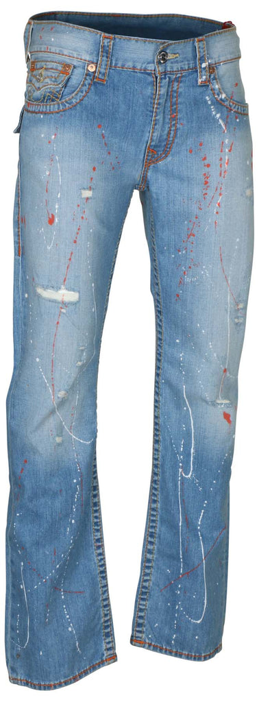 True Religion Men's Straight Flap Old Multi Big T Jeans