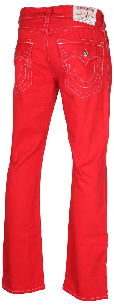 True Religion Men's Straight With Flap Natural SN Jeans-Chili Red