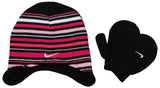 Nike Toddlers 2/4T Stripe Beanie With Black Mittens-Black/Pink