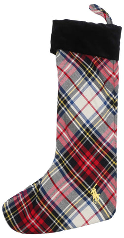Polo Ralph Lauren Plaid Pony Christmas Stocking-White Multi