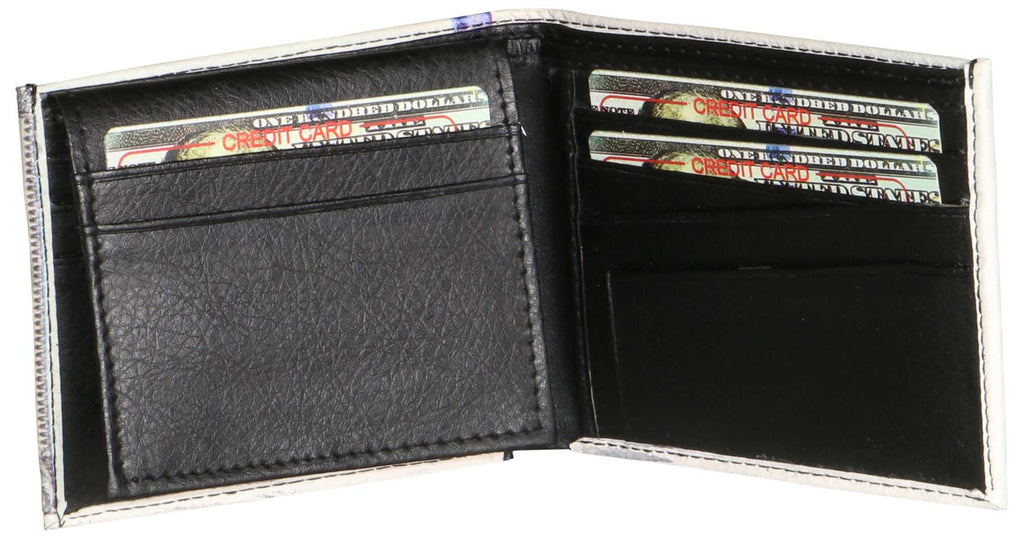 9 Crowns $100 Hundred Dollar Vegan Leather Bifold Wallet W/ ID Slot