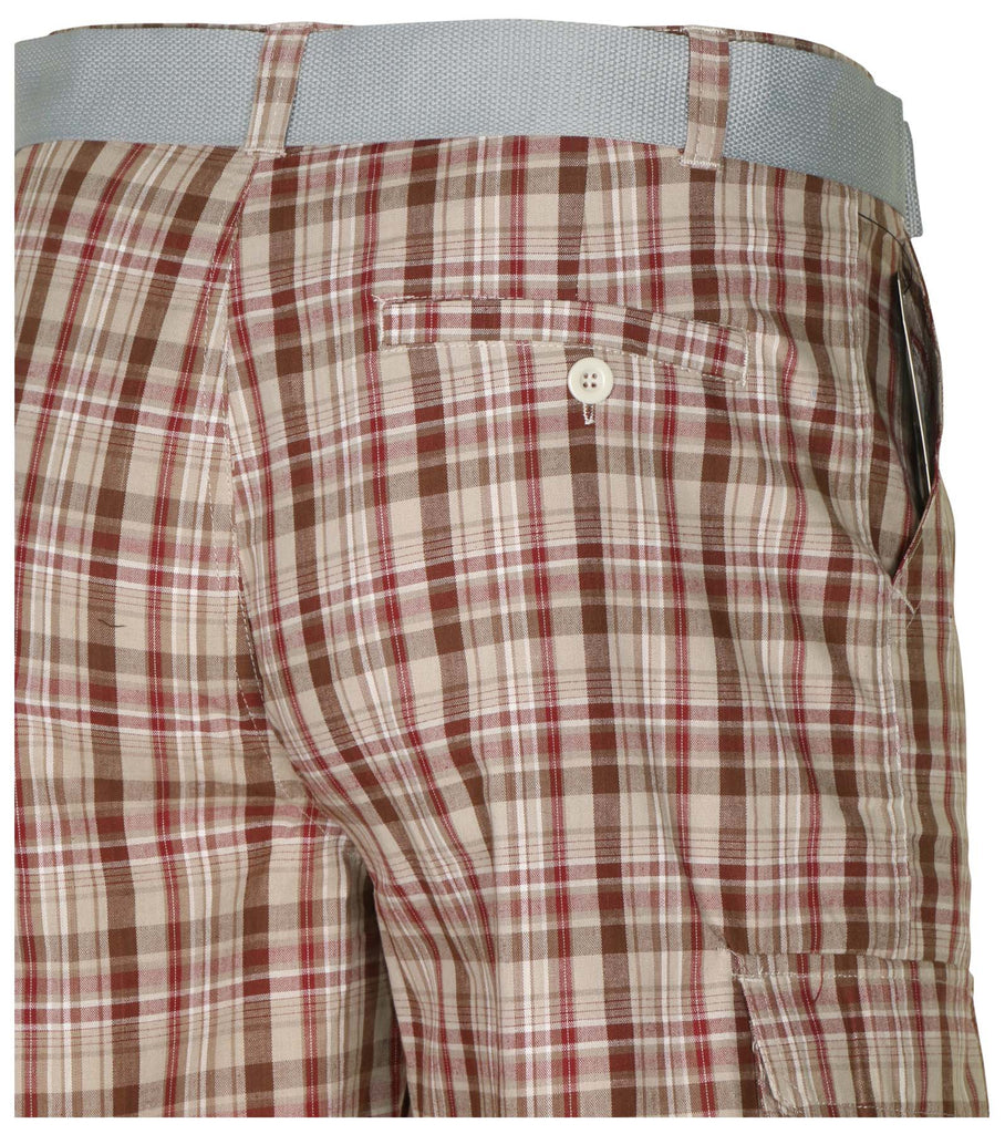 9 Crowns Men's TR Flat Front Plaid Bermuda Cargo Shorts