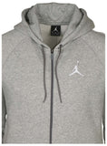 Jordan Men's Nike AJ Jumpman Full Zip Basketball Hoodie-Heather Grey