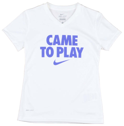 Nike Big Girls' (7-16) Dri-Fit Came To Play V-Neck T-Shirt-White