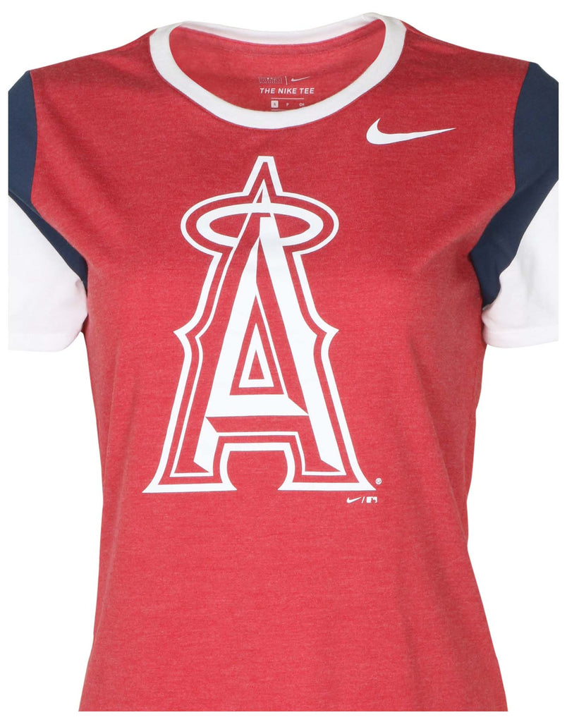 Nike Women's MLB Los Angeles Angels Tri-Blend T-Shirt-Gym Red Heather