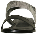 LOGO by Lori Goldstein Women's Taylor Leather Slingback Sandals-Black/Snake