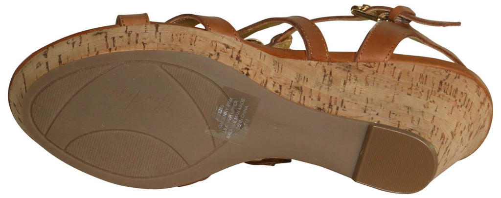 Marc Fisher Women's Genny Leather Cork Wedges-Medium Brown