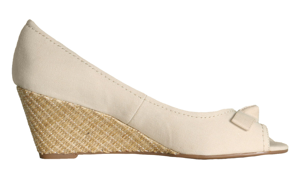 Isaac Mizrahi Live! Women's Peep2 Open Toe Wedges With Bow-Cream