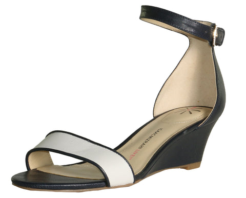 Isaac Mizrahi Live! Women's Katie Leather Wedges-Black/White