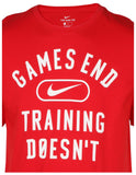 Nike Men's Games End Training Doesn't Graphic T-Shirt-University Red