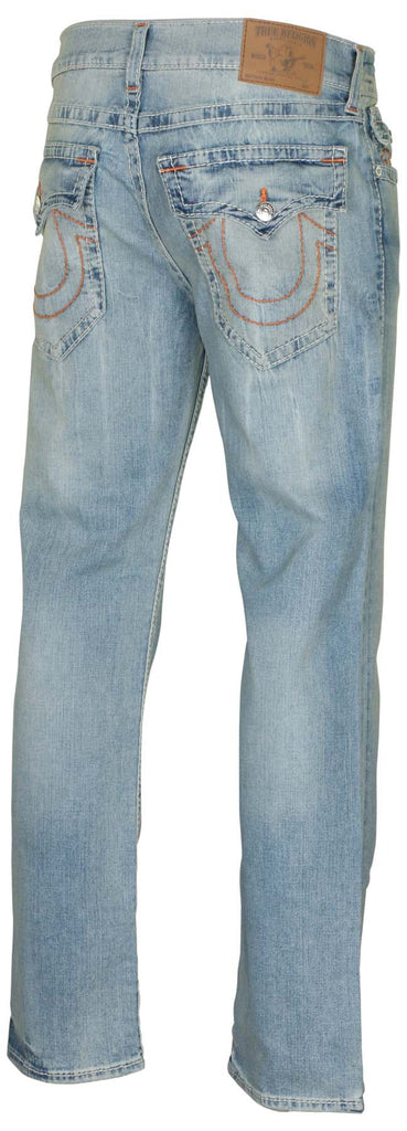 True Religion Men's Slim Flap Natural Big T Denim Jeans
