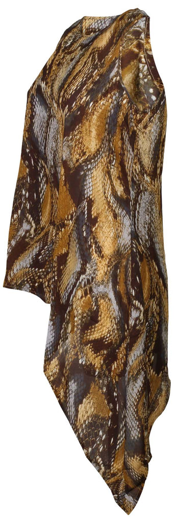 G.I.L.I. Women's Sleeveless Snake Printed Top with Asymmetric Hem-Cognac