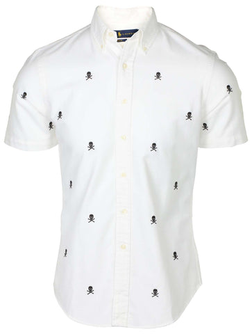 Polo Ralph Lauren Men's Slim Fit Skull & Crossbones Shirt-White