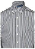 Polo RL Men's Big & Tall Stripe Button Down Shirt-Black/White