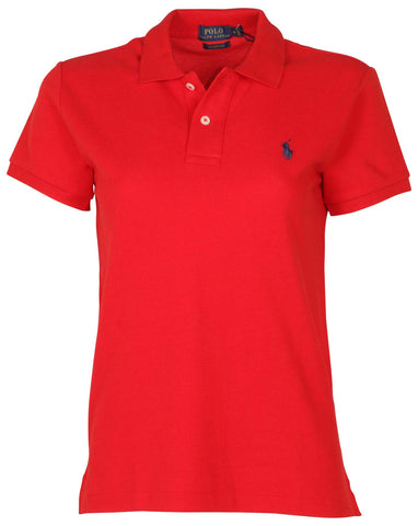 Polo RL Women's Classic Fit Mesh Pony Shirt-Red