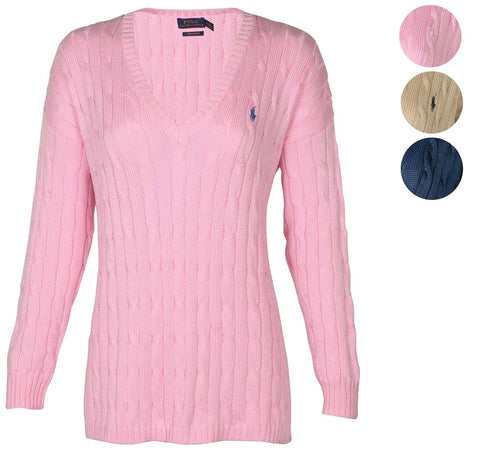 Polo RL Women's Cable Knit V-Neck Pony Sweater