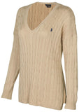 Polo Ralph Lauren Women's Cable Knit V-Neck Pony Sweater
