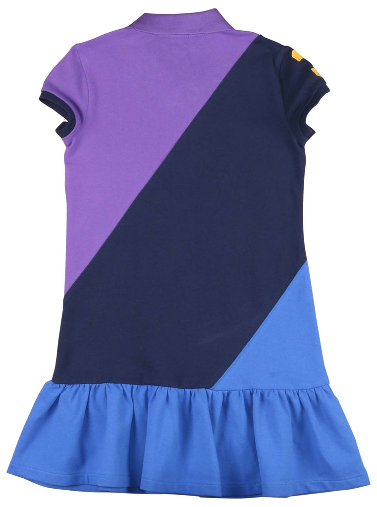 Polo Ralph Lauren Big Girls' (7-16) Colorblock Mesh Dress-Purple Multi