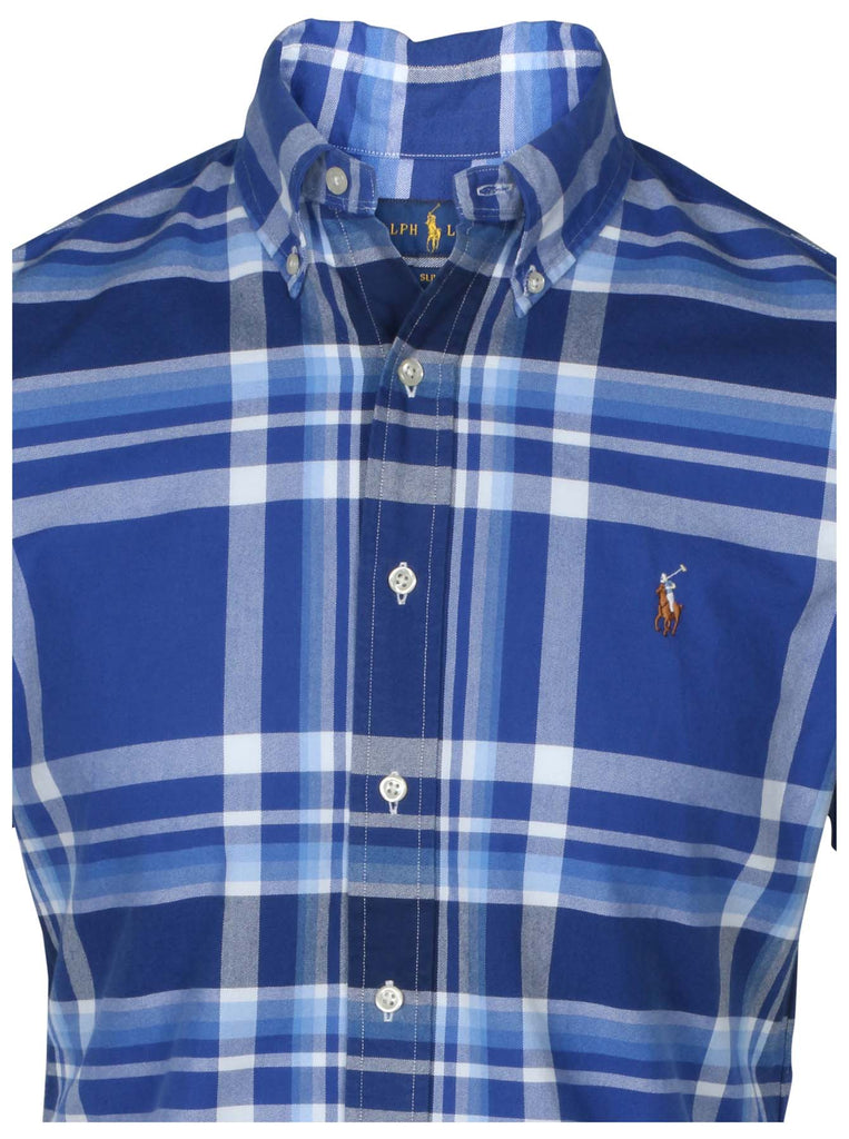 Polo RL Men's Slim Fit Button Down Shirt-Blue