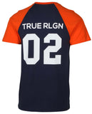 True Religion Men's Home Run Short Sleeve Raglan T-Shirt-True Navy/Flame