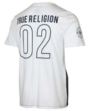 True Religion Men's True Line Big Football Crew T-Shirt-White/True Navy