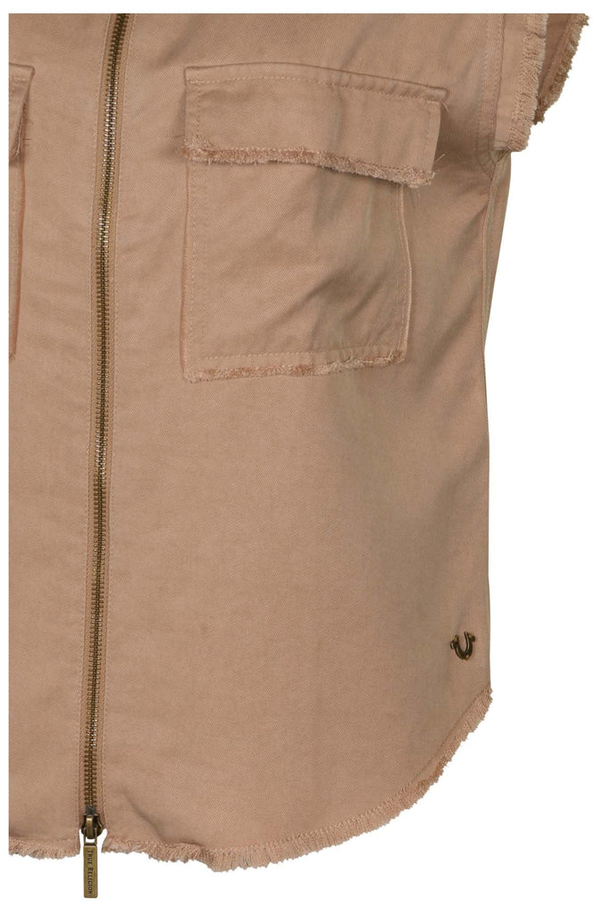 True Religion Women's Zip Front Utility Pocket Tank-Beige