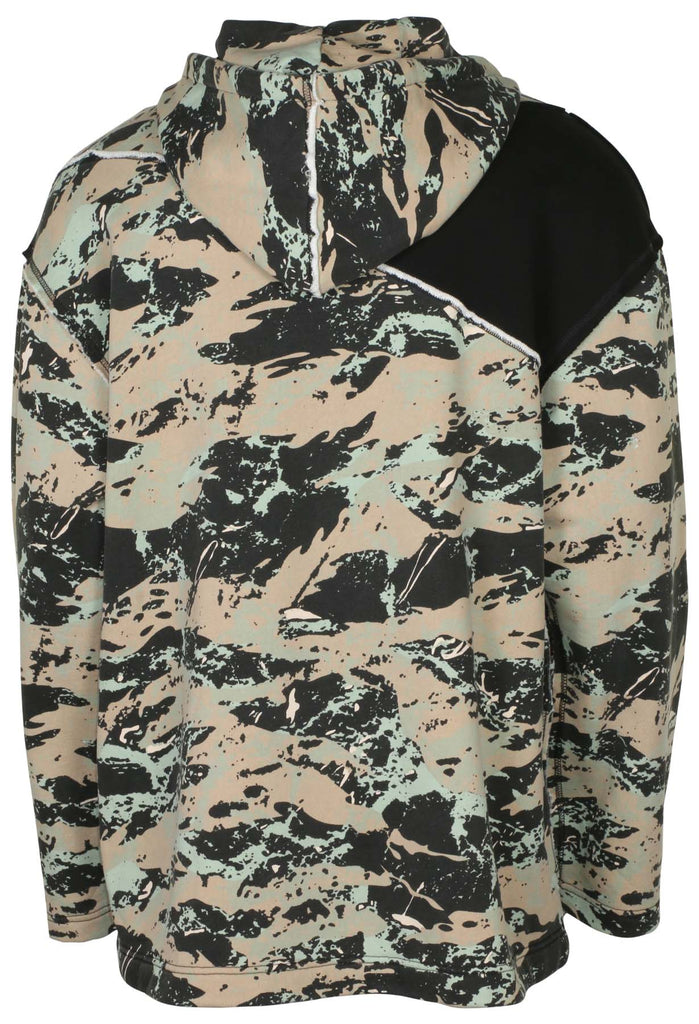 True Religion Men's Camo Blocked Knit Anorak 1/2 Zip Hoodie-True Black/Geo Print Combo