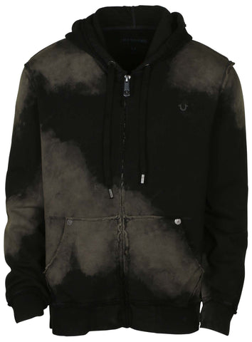 True Religion Men's Raw Edge Full Zip Hoodie-Black
