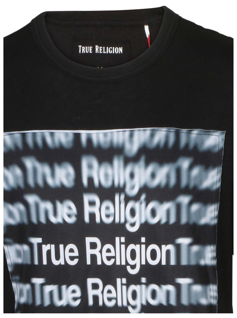 True Religion Men's Oversized Logo 3D Graphic Tee-True Black