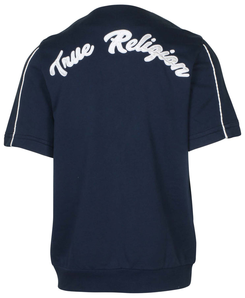 True Religion Men's Zip Up Baseball Shirt-Ace Blue/Blue Stone