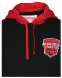 True Religion Men's Pop Fly Active Pullover Hoodie-Black/Ruby Red