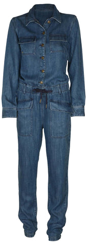 True Religion Women's Denim Jumpsuit-Untra Marine