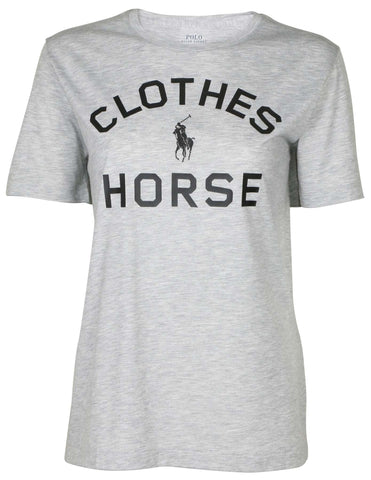 Polo RL Women's Crew Horse Graphic T-Shirt-Grey Heather