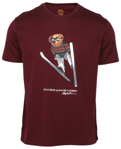 Polo Ralph Lauren Men's Polo Ski Bear T-Shirt-Maroon Red