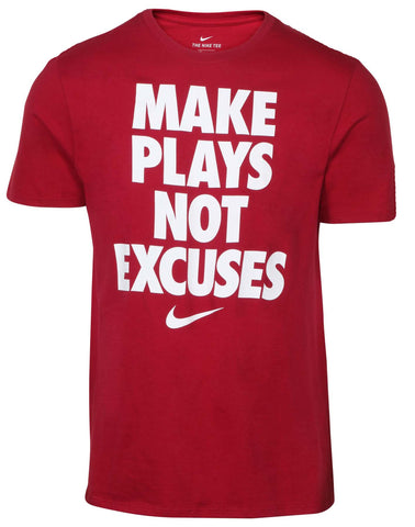 Nike Men's Make Plays Not Excuses Graphic Tee-Maroon