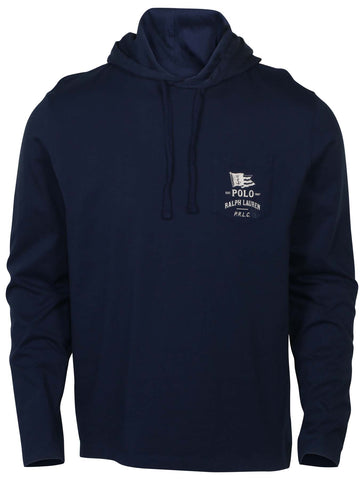 Polo RL Men's Pocket Graphic Lightweight Hoodie-Navy