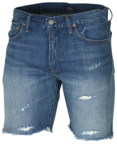 Polo RL Men's Sullivan Slim Distressed Denim Shorts-Blue