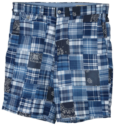 "Polo Ralph Lauren Men's 9"" Patchwork Madras Plaid Shorts-1649 Indigo"